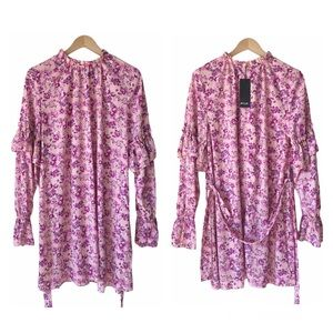 NWT Nasty Gal Pink Floral Belted Ruffle Dress 10